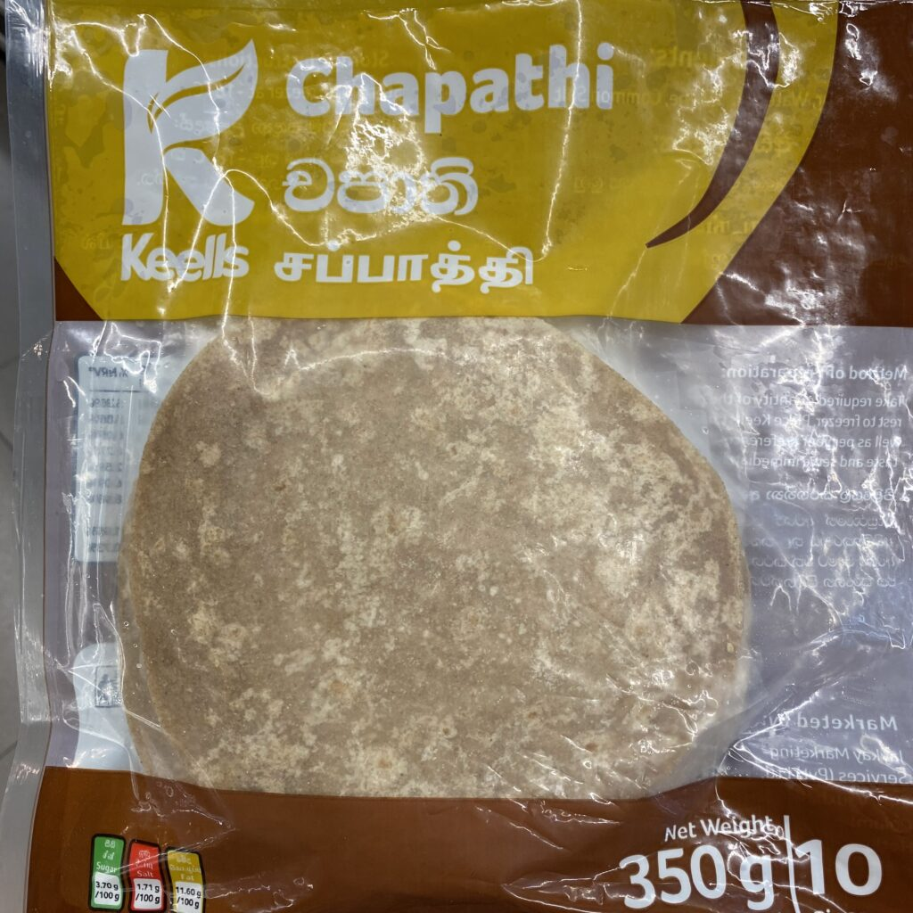 Atta flour chapati is made with wholegrain flour, which makes it healthier than a regular wheat flour chapati. I found it on my weekly healthy shopping spree.